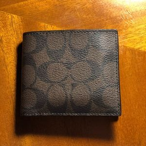 Men's Coach Compact ID Wallet in Signature Canvas
